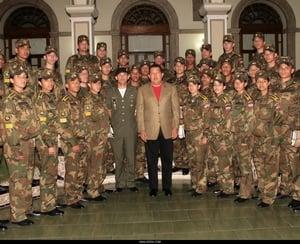 Hugo Chavez pays a visit to Venenozuelan cadets at Belorussian military academy