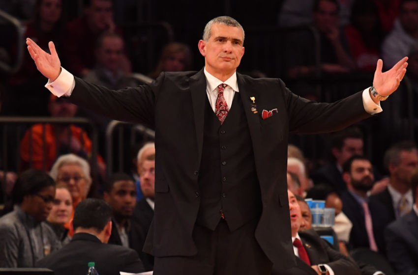 Mar 24, 2017; New York, NY, USA; South Carolina Gamecocks head coach Frank Martin reacts during the second half against the Baylor Bears in the semifinals of the East Regional of the 2017 NCAA Tournament at Madison Square Garden. Mandatory Credit: Robert Deutsch-USA TODAY Sports