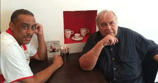 Ivan Garcia (l.) and Raul Rivero (r.) in a Miami cafeteria on September 17, 2016